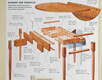 Gate-Leg Table drawings for Fine Woodworking Aug, 2016