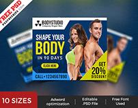 Gym Web Ad Banner Template PSD Set