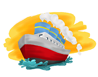 Ship, Train, Plane [Transportation Illustration]