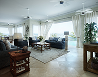 Living room in mediterranean style/animation