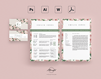 Roses Floral Resume Template / Card Template