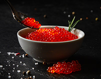 Still Life With Red Caviar and Raw Red Trout