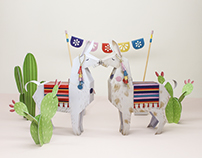 Llama and Cacti Papertoy Freebie