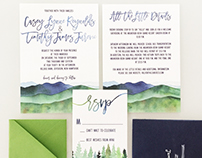 White Mountain Wedding Watercolor Invitation Suite
