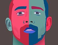 Men colored with beard / Homem colorido com barba