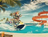 Elephant pool party
