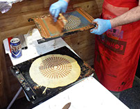 Silkscreen printing with cocoa spread on crêpes