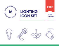 Free Lighting Line Icon Set
