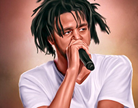 JCole Digital Oil Painting by Wayne Flint