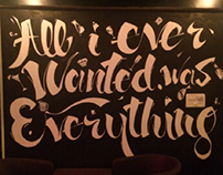 Typography wall art at a pub