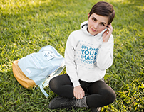 Student Girl Wearing a Pullover Hoodie Mockup