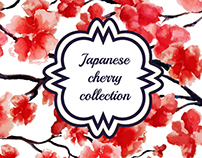 Japanese cherry collection. Watercolor.