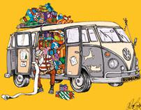 Hipster Santa 2 - VW Sleigh (Colour)