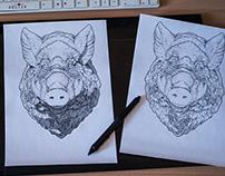Wild Boar comic style art
