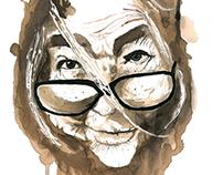 Retrato con vino Anciana