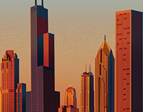 Chicago Skyline Illustration Wallpaper