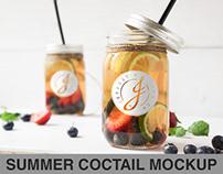 Summer coctail, Ice tea Mockup