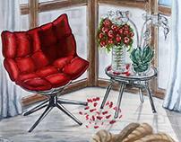 Interior drawing. интерьерный рисунок эскиз