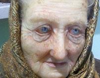 Granny. Realistic silicone sculpture