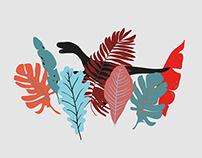 Plantas y velociraptor