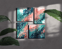 A breath of summer! Abstract calligraphy canvases.