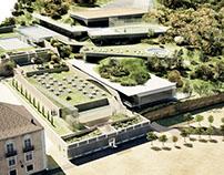 Infoarquitectura 3D de hotel ecológico en Lisboa.