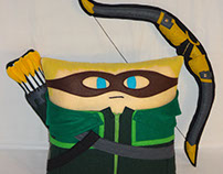 Handmade Green Arrow w/ Hood, Bow & Quiver v1.43 Pillow
