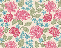 Fresh Chrysanthemums and Peonies Pattern
