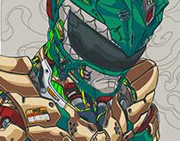 MECHASOUL GREEN RANGER FINE ART PRINT
