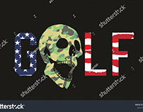 GOLF SKULL VECTOR ART