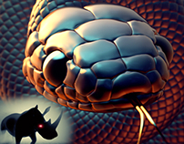 Black Snake And Rhino In The Dark