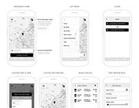 UX Wireframes for car sharing mobile app