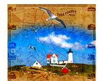 York County Maine map with Nubble Lighthouse