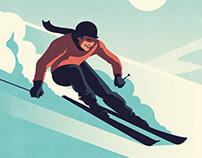 Chamonix Ski Travel poster