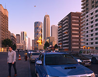 CG Exterior Street Day-Night Render