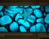 Set of 3 Original Starfish Glow in the Dark Paintings