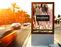 Free Outdoor Roadside Billboard Mock-Up Psd Template