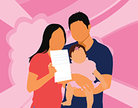 Happy couple with child and document