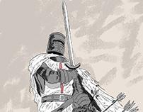 Drawing - crusader knight