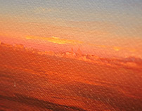 Sunrise from plane (oil)