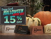 Halloween Sale - 15% Off Metal Business Cards