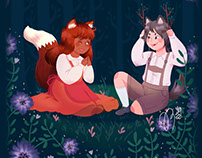 The Fox Girl and the Wolf Boy [Book illustration]