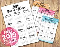 FREE   2019 PRINTABLE CALENDAR (A4)