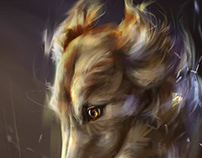 Portrait of a Russian Greyhound dog