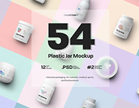 54 Mockups of Plastic Jars/12 Different Sets/3 Free/