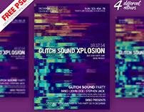 Glitch Sound Party Flyer PSD Freebie