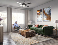 3D render of a room in a senior living