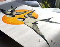 Two Swallows screen print