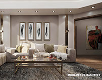 private villa living area - new cairo(3d visualization)