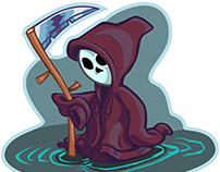 Young Grim Reaper Vector Cartoon Illustration